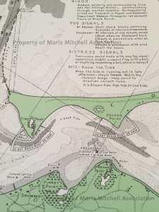 Historic map of Nantucket Harbor found at Maria Mitchell Association.
