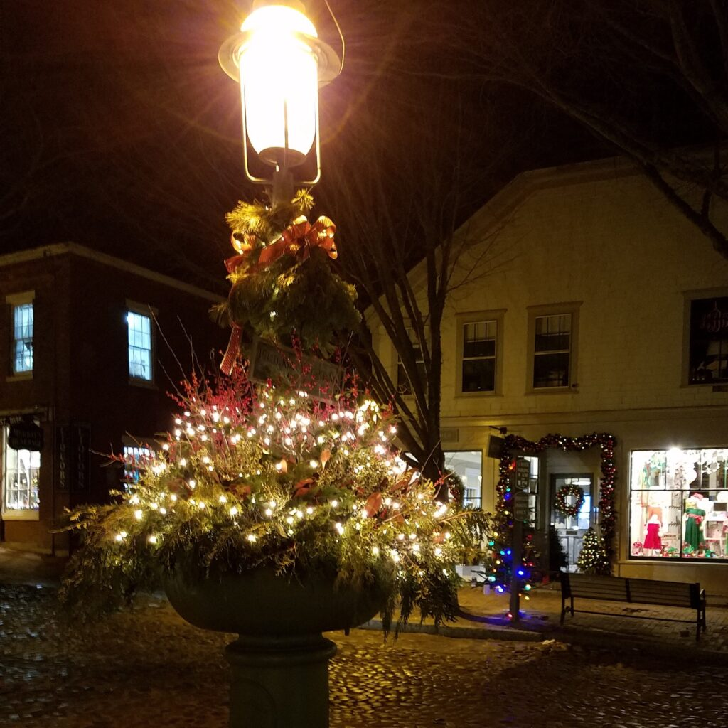 Nantucket Fountain at Christmas