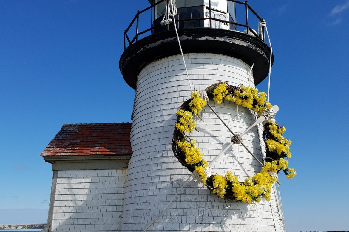 Daffodil Wreath on Brant Point Lighthouse