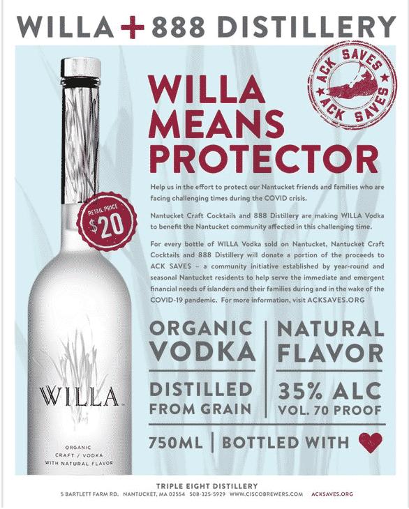 Cisco Brewers Willa Vodka Nantucket